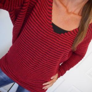 Free People Sweater Red Stripe Size Large